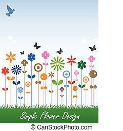 egyszerű, üzenet, virág, kártya, címke