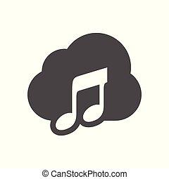 egyszerű, audio, tervezés, felhő, ikon