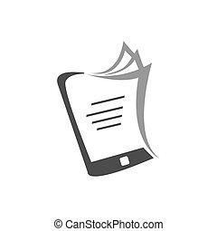 egyszerű, ebook, vektor, ikon, könyvtár, elektronikus, jel
