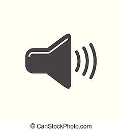 egyszerű, egyszintű, audio, tervezés, ikon