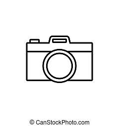 egyszerű, fényképezőgép, áttekintés, ikon