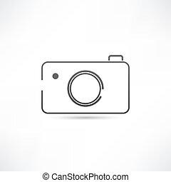 egyszerű, fényképezőgép, ikon