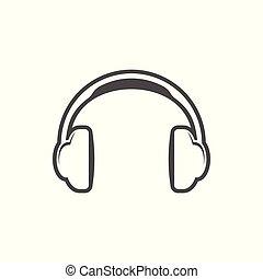egyszerű, fehér, fejhallgató, tervezés, ikon