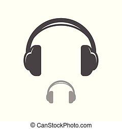 egyszerű, fejhallgató, tervezés, ikon