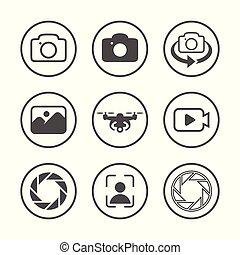 egyszerű, fotográfia, állhatatos, kapcsolódó, ikon