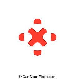 egyszerű, geometriai, ismeretlen mennyiség, kereszt, jel, vektor, céltábla
