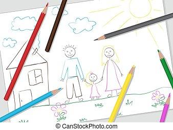 egyszerű, gyermekek, rajz