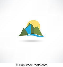egyszerű, hegyek, jelkép