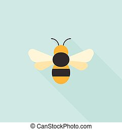 egyszerű, ikon, méh, tervezés, lakás