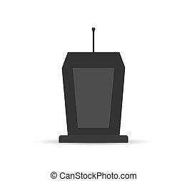 egyszerű, ikon, tervezés, áll, mikrofon