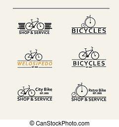 egyszerű, jel, bicycles, állhatatos, vektor