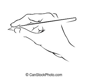 egyszerű, jelkép, kezezés írás