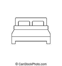 egyszerű, jelkép, tervezés, ágy, ikon