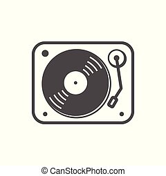 egyszerű, lemezjátszó, tervezés, fehér, ikon