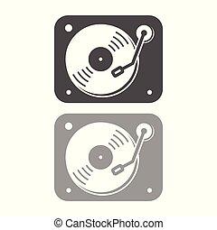 egyszerű, lemezjátszó, tervezés, ikon