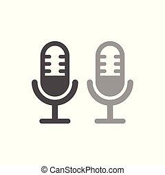egyszerű, mikrofon, tervezés, fehér, ikon