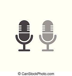 egyszerű, mikrofon, tervezés, ikon