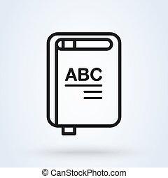 egyszerű, modern, vektor, könyv, egyenes, jelkép, ikon, illustration., tervezés