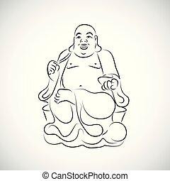 egyszerű, nagy, thai ember, buddha, rajz