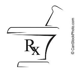 egyszerű, orvosi, rx, jelkép