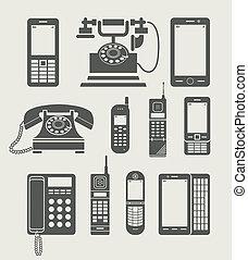 egyszerű, telefon, állhatatos, ikon