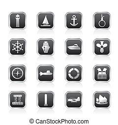egyszerű, tenger, tengeri, vitorlázás, ikon