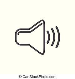 egyszintű, egyszerű, tervezés, fehér, audio, ikon