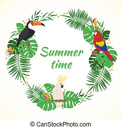 egzotikus, birds., keret, zöld, tropikus