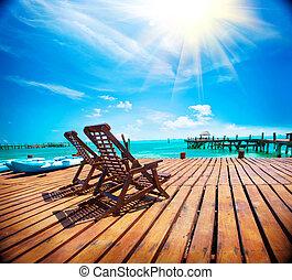 egzotikus, caribbean, idegenforgalom, concept., utazás, tropikus, erőforrás, megüresedések, paradise., tengerpart, vagy