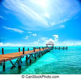 egzotikus, fogalom, mexico., resort., móló, cancun, tropikus, megüresedések, utazás, idegenforgalom