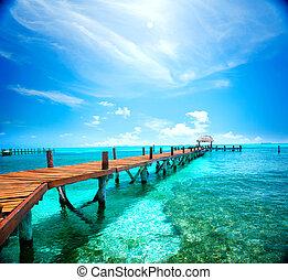 egzotikus, island., idegenforgalom, concept., utazás, tropikus, erőforrás, megüresedések, caribbean tengerpart, vagy