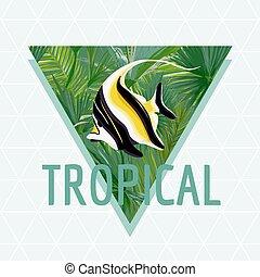 egzotikus, nyár, mód, fish, tropikus, póló, tervezés, háttér, vektor, graphic.