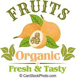 egzotikus, sárga, gyümölcs, indulat, jelvény, karikatúra