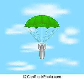ejtőernyő, bombáz, zöld