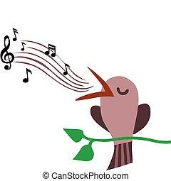 elágazik, éneklés, ábra, sügér, dallam, madár