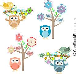 elágazik, ülés, fa, baglyok, virágzó, madarak