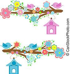 elágazik, ülés, párosít, kártya, birdhouses, madarak