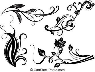 elágazik, fekete, virágos, elements., tervezés, fehér