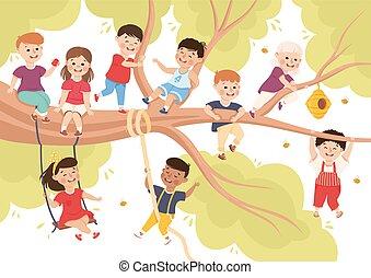 elágazik, gyerekek, nyár, boldog, ábra, birtoklás, élvez, móka, fa, vektor
