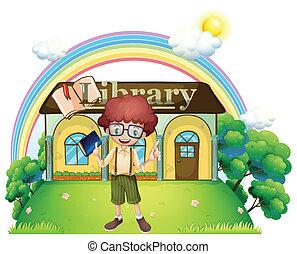 elülső, fiú, könyvtár, dombtető