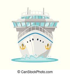 elülső, hajó cruise, -, kilátás