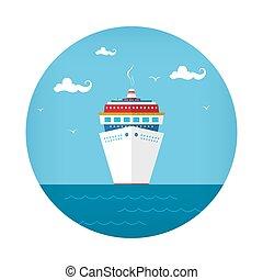 elülső, hajó, kilátás, cirkálás