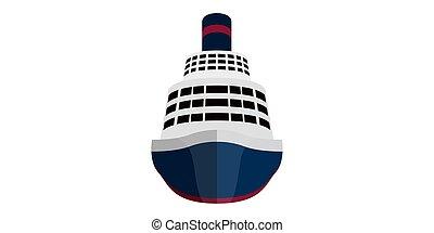 elülső, hajó, kilátás, elszigetelt, cirkálás