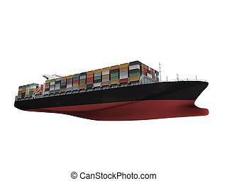 elülső, hajó tároló, elszigetelt, kilátás