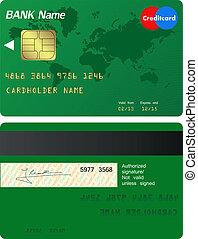 elülső, hitel, hát, kártya