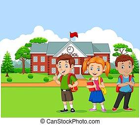 elülső, iskolások, boldog