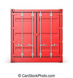 elülső, konténer, egyedülálló, piros, kilátás