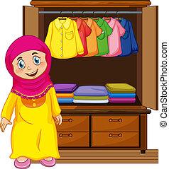 elülső, leány, muzulmán, beépített szekrény