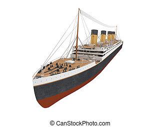 elülső, nagy, hajó, személyszállító hajó, kilátás