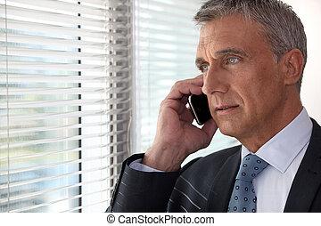 elülső, telefon, ablak, végrehajtó